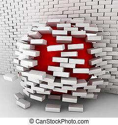 balle, mur, en mouvement, par, brique, rouges