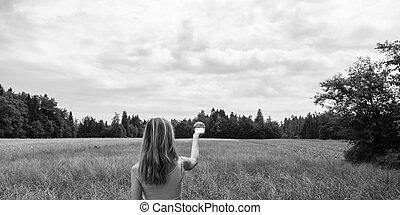 balle, nature, position femme, cristal, tenue