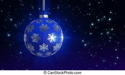 balle, noël, bleu, arbre