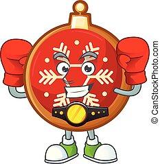 balle, noël, boxe, character., rigolote, dessin animé, rouges