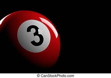 balle, nombre, rendre, 3, piscine, 3d
