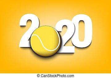 balle, nombres, année, 2020, nouveau, tennis