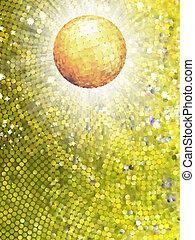 balle, or, éclater, detail., eps, disco, 8, mosaïque