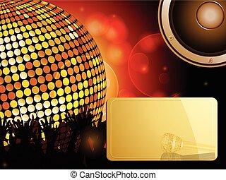 balle, orateur, foule, disco