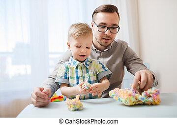balle, père, fils, argile, maison, jouer
