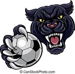 balle, panthère, football, noir, tenue, football, mascotte