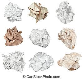 balle, papier chiffonné, frustration, déchets