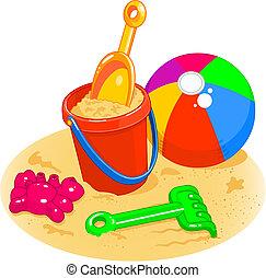 balle, pelle, -, seau, jouets, plage