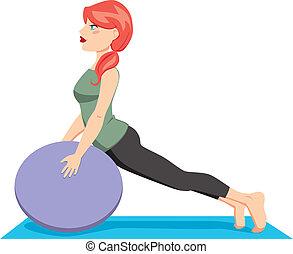 balle, pilates, exercice