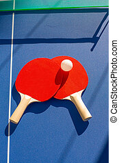 balle, ping, tennis, manettes, deux, table, pong, blanc