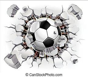 balle, plâtre, vieux, mur, football