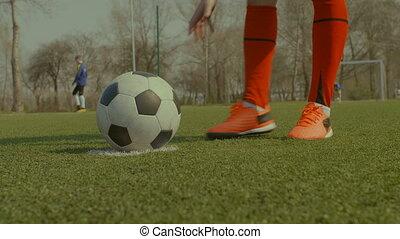 balle, placer, tache, pénalité, joueur, football