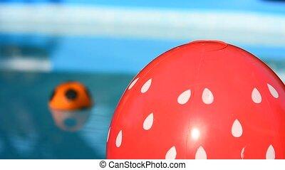 balle, plage, piscine, natation