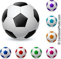 balle, réaliste, différent, football, couleurs