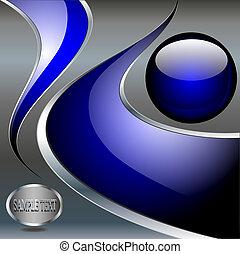 balle, résumé, arrière-plan bleu, métallique, technologie