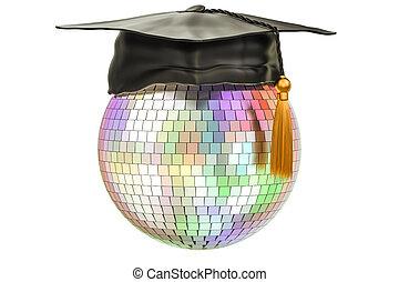 balle, remise de diplomes, disco, casquette, rendre, 3d