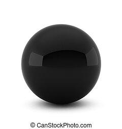 balle, render, arrière-plan noir, blanc, 3d