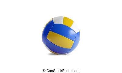 balle, rotation, railler, haut, volley-ball, fait boucle,...