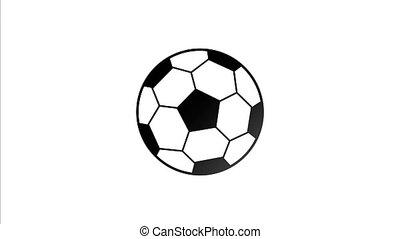balle, rouleaux, vidéo, 4k, dessiné, football, côté