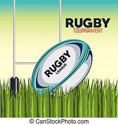 balle rugby, à, champ, et, poste, but, conception