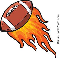 balle rugby, dans, brûler