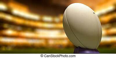 balle, rugby, stade, nuit