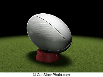 balle rugby, sur, donner coup pied, tee, sous, projecteur