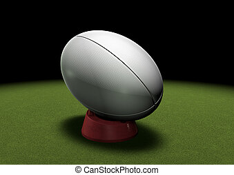 balle,  rugby,  tee, donner coup pied, sous, projecteur