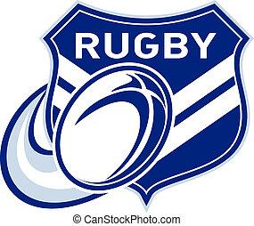balle rugby, voler, bouclier, chevron