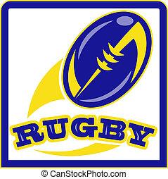 balle rugby, voler, dehors, sur, isolé, fond