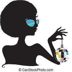 balle, silhouette, disco