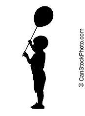 balle, silhouette, enfant