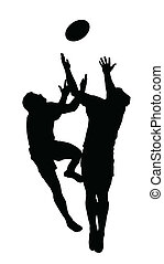 balle, silhouette, football, -, haut sauter, prise, rugby,...