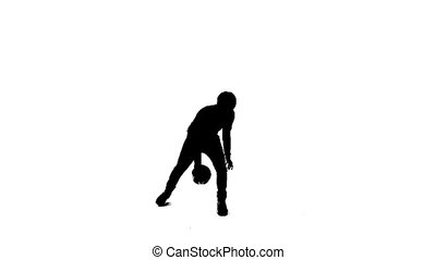 balle, silhouette, jouer, homme