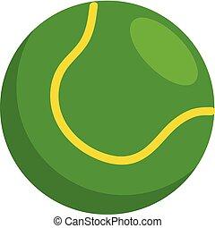 balle, simple, tennis, illustration, vecteur, arrière-plan vert, blanc