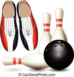 balle, skittles, chaussures, bowling, -, championnat, affiche