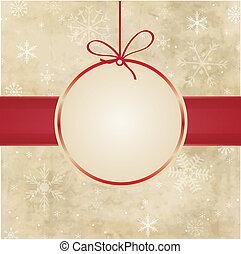 balle, snowflakes., vendange, rouges, noël carte