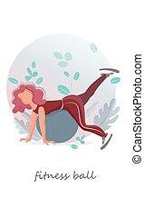 balle, sport., exercises., moderne, girls., vecteur, fitness, flat., illustration.