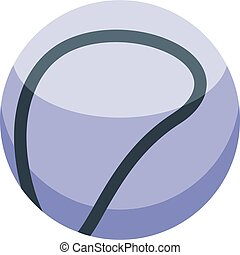 balle, style, icône, isométrique, lancer, blanc