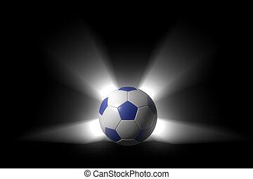 balle, sur, incandescent, arrière-plan noir, alpha, football...