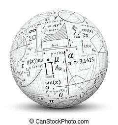 balle, symbole, -, texture, sphère, blanc, math, 3d