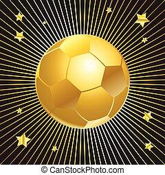balle, tasse or, arrière-plan noir, football
