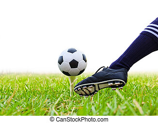 balle, tee golf, isolé, donner coup pied, pied, football