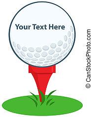 balle, tee golf, signe