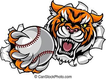 balle, tenue, rupture, tigre, base-ball, fond