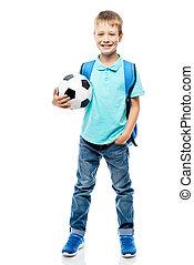 balle, tenue, sac à dos, football, isolé, longueur, entiers, fond, blanc, écolier
