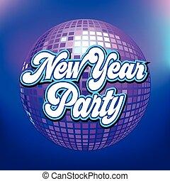 balle, texte, nouveau, disco, année, fête