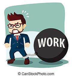 balle, travail, dur, fer