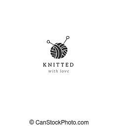 balle, tricot, fait main, theme., main, vecteur, yarn., gabarit, dessiné, logo