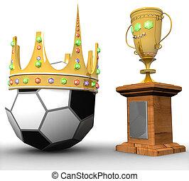 balle, tridimensionnel, couronne, récompense, fond, blanc